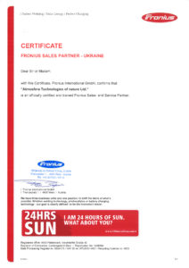 Certificate Fronius sales- and service-partner